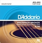 D'Addario EJ16 3D Phosphor Bronze Acoustic Guitar Strings