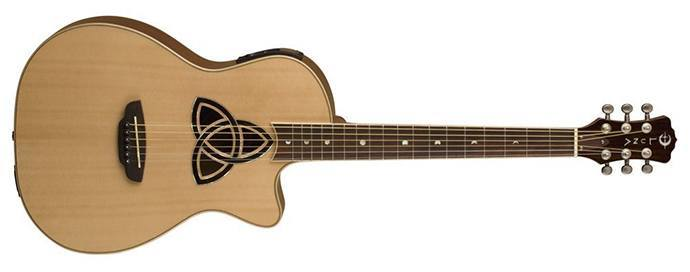 Luna Trinity Acoustic Electric Guitar Parlor Cutaway Natural