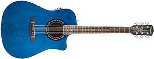 Fender T-Bucket 300CE Cutaway Acoustic-Electric Guitar, Quilted Maple Top, Mahogany Back and Sides, Fishman Preamp - Transparent Blue