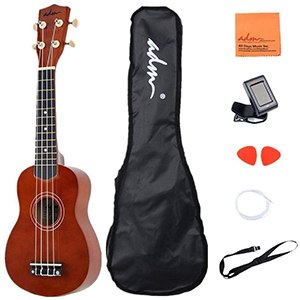 ADM 21 Economic Soprano Ukulele Start Pack with Gig bag, Tuner, Blue