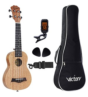 CYC Soprano Ukulele 21 Inch Mahogany Aquila Strings Beginner Kit Straps Bag Picks and Tuner
