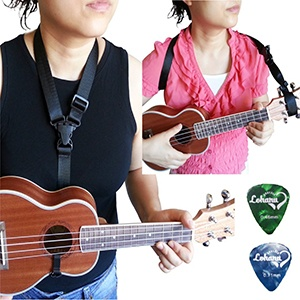 Clip On Ukulele Strap Black Color Adjustable In Various Length From Lohanu Ukulele Hook & Clips On Requires No Drilling Easy To Use Fits Any Uke Sizes Helps You Play Better & Easier! 2