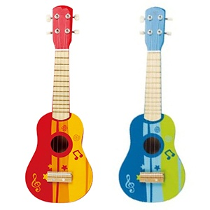 Hape Kid's Wooden Toy Ukulele in Red and Blue